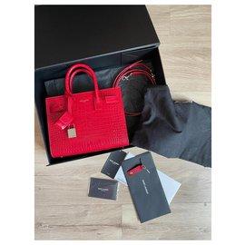 Saint Laurent-Red crocodile embossed day bag-Red