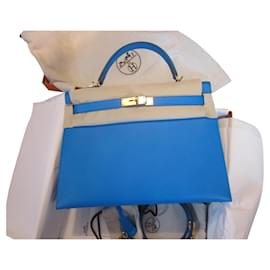 Hermès-Kelly 32 sellier-Bleu