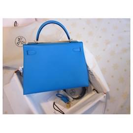 Hermès-Kelly 32 Sellier-Blue