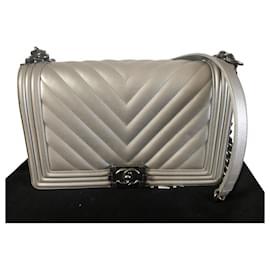 Chanel-Boy big model-Silvery,Silver hardware