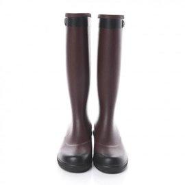 Chanel-Rubber Logo Rain Boots 41 Burgundy Black-Other