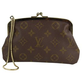 Louis Vuitton-Monogram Kisslock Pouch Wristlet Marais Bucket Clutch-Other