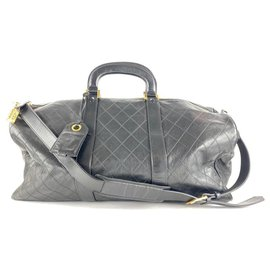 Chanel-XL Black Quilted Lambskin Jumbo Boston Classic Duffle Bag Strap-Other