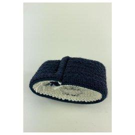 Chanel-Navy Blue Wrist Band Sweat Bracelet Cuff Bangle CC Logo-Other