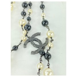 Chanel-b11P Triple CC Black Pearl Necklace-Other