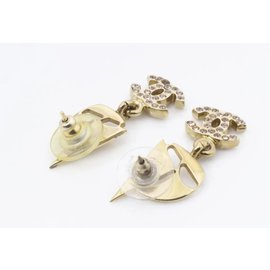 Chanel-02s Pink Crystal CC Gold Tone Sailboat Earrings Pierce Pierced-Other