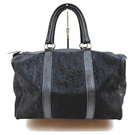 Dior-Christian Black Embossed Suede Monogram Trotter Boston Bag-Other