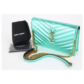Saint Laurent-Metallic Green Chevron YSL Monogram Wallet on Chain Flap Bag-Green