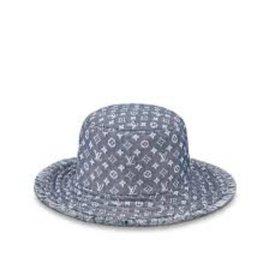 Louis Vuitton-Monogram Denim Bucket Hat Bobbygram Cap Rare Jean Sun Visor 860399M-Other