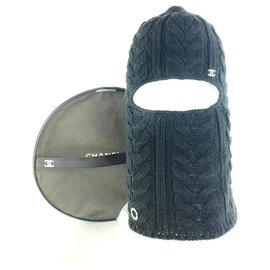 Chanel-Ultra Rare CC Logo Ski Mask Beanie Hat Cap Woven Black Wool 3CC1019-Other