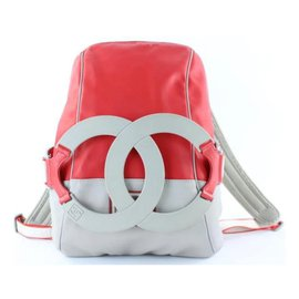 Chanel-Ultra Rare XL CC Logo Sports Backpack Red Grey-Other