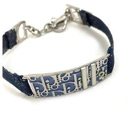 Dior-Christian Navy Blue Denim Monogram Oblique Trotter Bracelet Bracelet Manchette-Autre