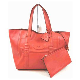 Mulberry-Maisie Tote with Pouch Orange Leather-Other