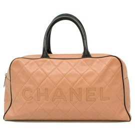 Chanel-Bicolor Beige x Black Quilted Caviar Boston Duffle Sports Line-Other