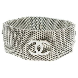 Chanel-96a Silver Tone Mesh Bracelet Bangle Cuff-Other