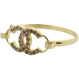 Chanel-02p Crystal CC Gold Tone  Bangle Bracelet Cuff-Other