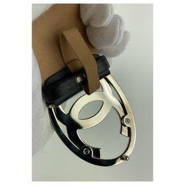 Chanel-b10V Jumbo CC Logo Belt Black x Silver-Other