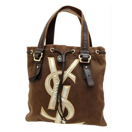 Saint Laurent-Ysl Logo Kahala Tote Brown-Other