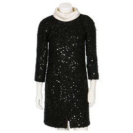 Chanel-Rare Chanel Black fantasy tweed Sequin dress, a/w 2017.-Black,Cream
