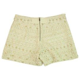 Alice + Olivia-Alice + Olivia White Fully Beaded Back Zip Summer Shorts Trousers Pants size 4-White