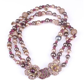 Chanel-Grey Pearl, Purple Beads & Crystals, CC layered Necklace-Purple