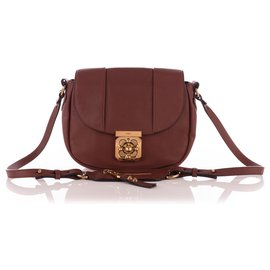 Chloé-Brown Ochre Leather Elsie Crossbody-Brown,Red