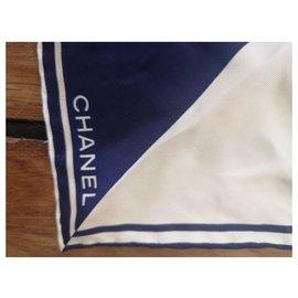 Chanel-Chanel silk square-White,Navy blue