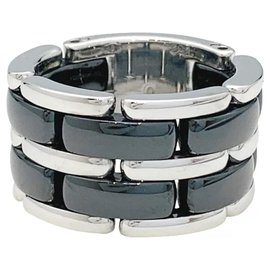 """Chanel-Chanel """"Ultra"""" large model ring in white gold and black ceramic.-Other"""