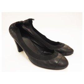 Chanel-Chanel Black Leather Lambskin High Heel Cap Toe CC Ballet Pumps Size 39,5-Black