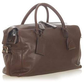 Chanel-Chanel Brown CC Leather Travel Bag-Brown,Dark brown