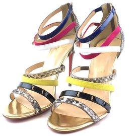 Christian Louboutin-Christian Louboutin Mariniere Python Multi-strap Sandal Pumps-Multiple colors
