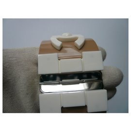 """Chanel-CHANEL """"Légo Brick"""" cuff Beige and ecru two-tone resin very good condition-Beige"""