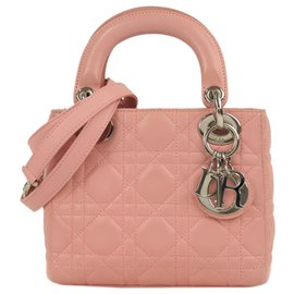 Dior-Dior Pink Mini Cannage Lady Dior Leather Satchel-Pink
