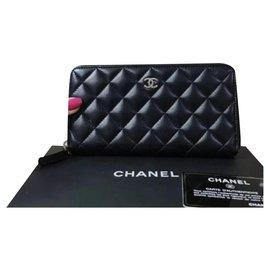 Chanel-Chanel Classic Long Zipped Black Wallet-Black