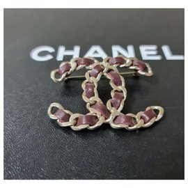 Chanel-CHANEL CC Brooch Chain  Burgundy Leather-Multiple colors