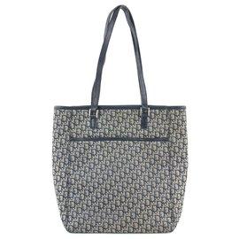 Dior-Navy Monogram Trotter Book Tote Shopper Bag-Other