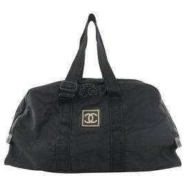 Chanel-Black CC Logo Sports Boston Duffle Bag-Other
