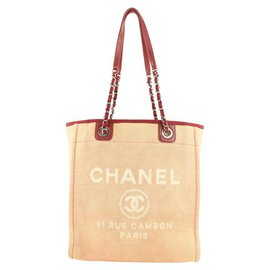 Chanel-Burgundy Bordeaux North South Deauville Chain Tote Bag-Other
