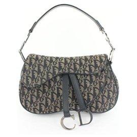 Dior-Navy Blue Monogram Trotter Saddle Flap Bag-Other