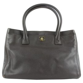 Chanel-Dark Brown Caviar Leather Cerf Executive Tote Bag-Other