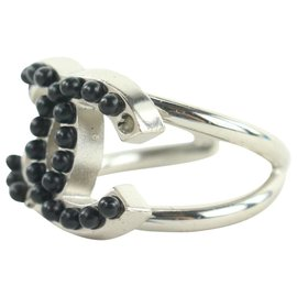 Chanel-03c Size 6.5 Silver x Black PEarl CC Ring-Other