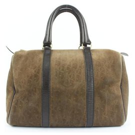 Dior-Embossed Suede Monogram Trotter Boston Bag-Other