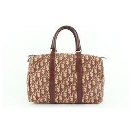 Dior-Dark Red Burgundy Monogram Trotter Boston Duffle Bag-Other