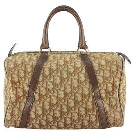 Dior-Brown Monogram Trotter Boston Duffle Doctors Bag-Other