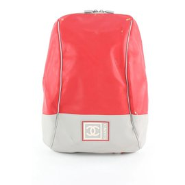 Chanel-Red Sports Logo CC Backpack-Other