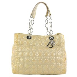 Dior-Beige Quilted Patent Leather Soft Shopping Chain Tote Bag-Other