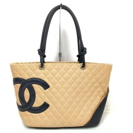 Chanel-Beige Quilted Leather Cambon Tote Bag-Other