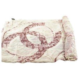 Chanel-Pink Floral CC Logo Shawl Scarf Wrap-Other