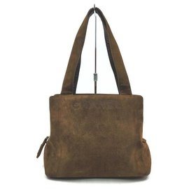 Chanel-Brown Suede Logo Tote-Other