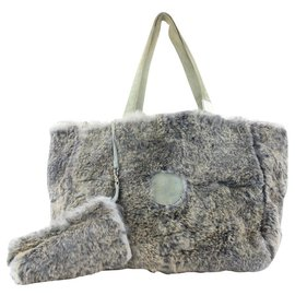 Chanel-Grey CC Logo Rabbit Fur Tote bag with Pouch-Other